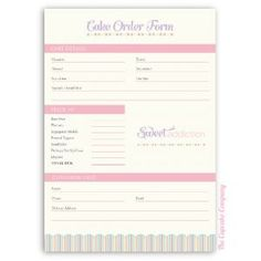 Angel Food Bakery Order Form  On Track Marketing  Baking Ideas