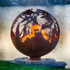 Another Day in Paradise Palm Tree Steel Outdoor Fire Pit Sphere with Flat Steel Base. Palm trees, pelican and crane shorebirds and seagulls capture the feeling of this tropical paradise fire pit sphere. Steel Fire Pit, Wood Burning Fire Pit, Fire Pits, Fire Pit Sphere, Minnesota, Alaska, Fire Pit Gallery, Custom Fire Pit, Number Art