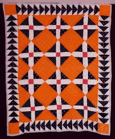 """Q6482 Signature Block with Flying Geese Bassinet Quilt, c. 1880, 34 x 40"""", Ohio, Rocky Mountain Quilts"""