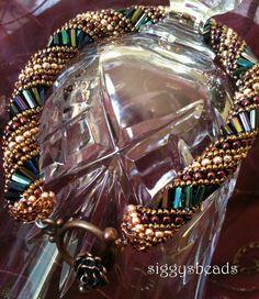 Russian Spiral beaded bracelet Queen Elizabeth by siggysbeads, $32.00