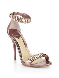 B Brian Atwood - Ciara Crystal & Metallic Leather Sandals