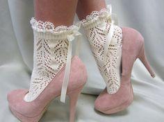 "Paris peek a bow Lace socks for heels CREAM Baby doll, 80""s inspired retro crochet lace socks flats or heels catherine cole studio"