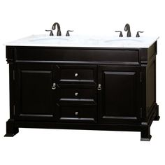 bellaterra home cambridge es 60 in double vanity in espresso with marble vanity top in - 60 Inch Vanity