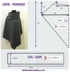 Made in france: DIY: Cape/ Poncho, tutoriel couture gratuit sew einfach clothes crafts for beginners ideas projects room Sewing Scarves, Sewing Clothes, Diy Clothes, Fashion Sewing, Diy Fashion, Ideias Fashion, Poncho Pattern Sewing, Sewing Patterns, Cape Pattern