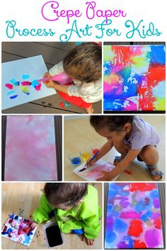 3 Ways to make process art with kids using only crepe paper and water. These…