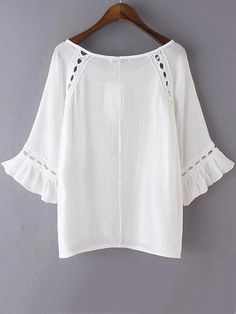 SheIn offers White Eyelet Lace Insert Chiffon Blouse & more to fit your fashionable needs. Fast Fashion, Fashion Online, Fashion Outfits, Comfy Fall Outfits, Crochet Yoke, Embroidery Fashion, Eyelet Lace, Lace Insert, Blouse Online