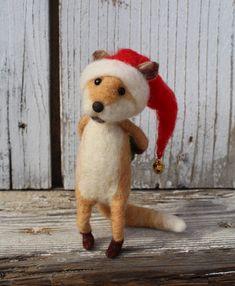 Needle felted christmas fox Christmas animal Felted by misha2smile