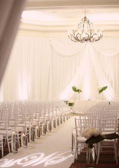 Wedding Ceremony, White Decor, Chandelier
