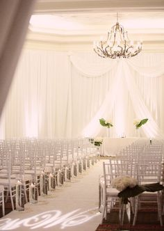 Wedding Ceremony, White Decor, Chandelier