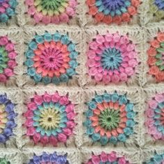 The Patchwork Heart: Starburst Crazy granny square afghan. So pretty!