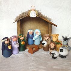 Deluxe Nativity Set - 14 Pieces Including Handcrafted Stable Handmade Nativity Sets More