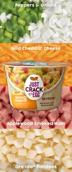 With NEW Just Crack an Egg meals, you can make a hot scramble packed with applewood smoked ham, mild cheddar cheese, diced Ore-Ida potatoes, green peppers and onions in less than two minutes. It's time to take breakfast back.
