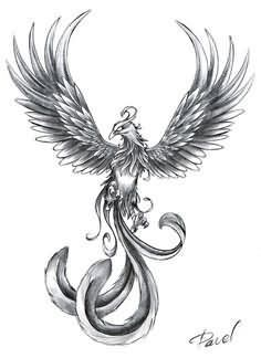 Cool Grey Ink Flying Phoenix Tattoos Design