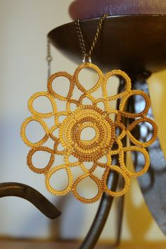 Indian summer - shuttle tatted cotton lace pendant INSPIRATION