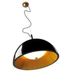 Umbrella 3 Light Bowl Pendant in Black and Orange