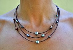 Leather and Pearl Jewelry Necklace Brown door ChristineChandler