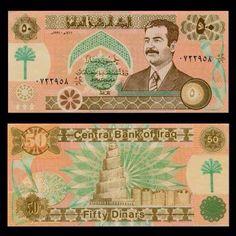 عملة ورقية عراقية بقيمة 50 دينار صدة سنة 1991 بداية الحصار الاقتصادي Dinars Banknote Of Iraq Saddam Hussein Samarra Mosque Pick 75 Unc