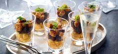 Delhaize - Glaasjes met zwarte pens, appels en geroosterde peperkoek