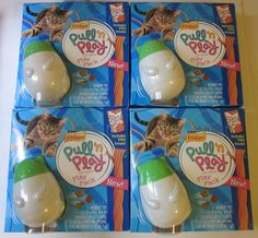 Friskies Pull 'N Play Cat Treats Play Pack Lot of 4 Wobbert Toy #Friskies