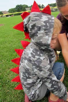 Our friend Kendall makes upcycled dino hoodies like these! http://www.facebook.com/pages/Kendall-Made-Me/196128357829