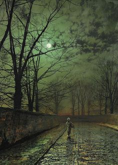 Silver Moonlight by John Atkinson Grimshaw, 1880 Nocturne, Atkinson Grimshaw, Top Imagem, Beautiful Moon, Moon Art, Beautiful Paintings, Dark Art, Landscape Paintings, Amazing Art