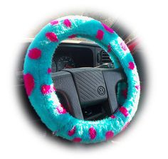 Dino steering wheel cover turquoise and purple Monster Spot Sully faux fur furry fluffy fuzzy car spotty like monsters inc dinosaur