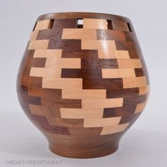 Fine Open Segmented Turned Wood Vase Walnut Maple Cherry Mahogany Signed Morse