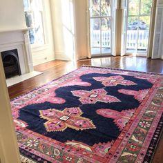 Caitlin Wilson Navy Kismet Rug featured in @fransco1's living room! #shareyourcwt #cwrugs