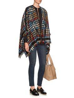 Hounds-tooth checked wool-blend cape | Etro