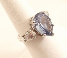 Ladies Russian Formula Brazilian Blue CZ Silver Ring Size -6 Free Gift Box