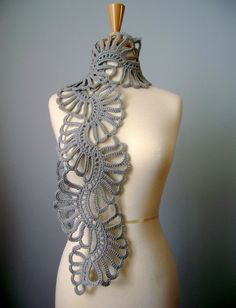 Crochet Art scarf Gray /Grey / Silver wool lace by VitalTemptation. For inspiration.