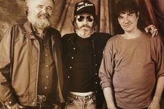 """Garth Hudson, Levon Helm, and Rick Danko of The Band backstage at """"This Country's Rockin'"""" concert in Pontiac, Michigan in 1989. (Photographer: Nancy Lee Andrews)"""