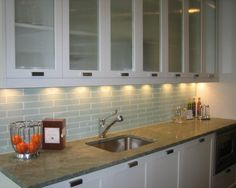 Gl Tile Backsplash And Awesome Glfront Cabinets Love The Rectangle Door Drawer Pulls Too