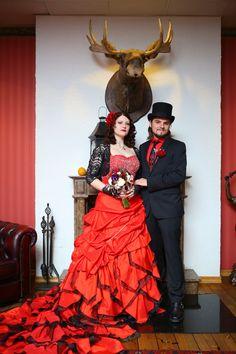 Stunning Red Wedding Dress from WeddingDressFantasy.com #red #bridal #gown