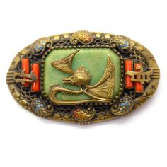 Vintage Art Deco Neiger Dragon Oriental Galalith Brooch | Clarice Jewellery | Vintage Costume Jewellery