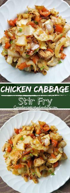 how to stir fry Chicken Cabbage Stir Fry Stir Fried Cabbage Recipes, Stir Fry Recipes, Chicken Recipes, Cooking Recipes, Easy Chicken Dishes, Easy Cabbage Recipes, Meal Recipes, Kitchen Recipes, Healthy Stir Fry