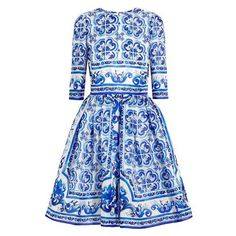 Dolce Gabbana Printed silk mini dress ❤ liked on Polyvore featuring dresses, mixed print dress, blue silk dress, silk print dress, pattern dress and short silk dress