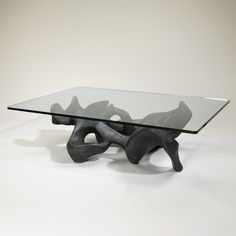 The base of the coffee table- replace the glass Sculptural Coffee Table Bronze with Glass Top #Furniture #Design