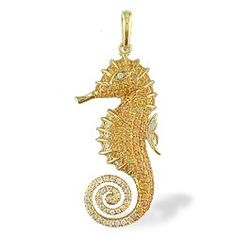 Yellow Gold Seahorse Pendant with Pavé Yellow Sapphires and Diamonds - Pendants - Jewelry Type