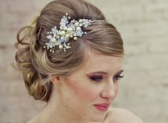 Long hair updo with wedding headband