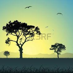 campagne: Un paysage de prairies avec des arbres et les oiseaux