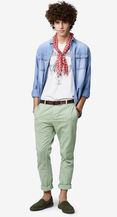 Light green Mineral dye chinos #SS17 by United Colors of #Benetton #man collection