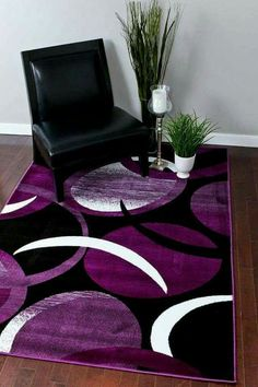 Rugs for Teen Girls Rooms Area 5 x 7 Living Room Purple Home and Kitchen Decor