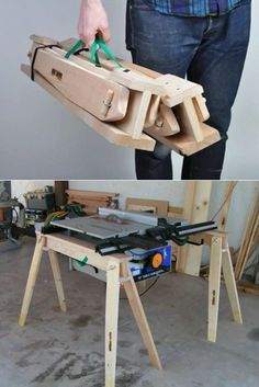 Light-weight, high-load, foldable HideAHorse sawhorse