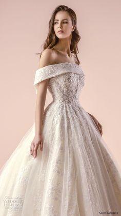 saiid kobeisy 2018 bridal off the shoulder straight across neckline heavily embellished bodice romantic princess ball gown wedding dress chapel train (3253) zv
