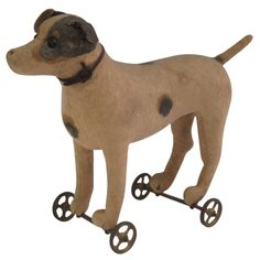 Pull Toy Dog | From a unique collection of antique and modern toys at http://www.1stdibs.com/furniture/folk-art/toys/