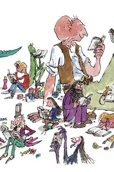 Quentin Blake illustrations from Roald Dahl Quentin Blake Illustrations, Roald Dahl Books, Children's Book Illustration, Book Illustrations, Lectures, I Love Books, Childrens Books, Kawaii, Sketches