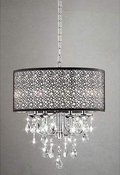 I'm obsessed with these circular shades!  bedroom chandelier- stunning!