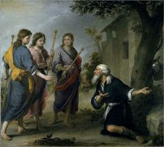 Abraham Receiving the Three Angels - Bartolome Esteban Murillo