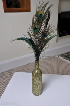 Lovely Peacock Wedding Centerpieces Ideas That Have An Unique Style - Celebrating your wedding with a peacock theme is rich in two ways. The first is the symbolism of the bird itself: noble, dignified, graceful, beautifu. Peacock Wedding Centerpieces, Party Table Centerpieces, Wine Bottle Centerpieces, Centerpiece Decorations, Wedding Decorations, Centrepieces, Peacock Theme, Flower Bouquet Wedding, Bridal Bouquets